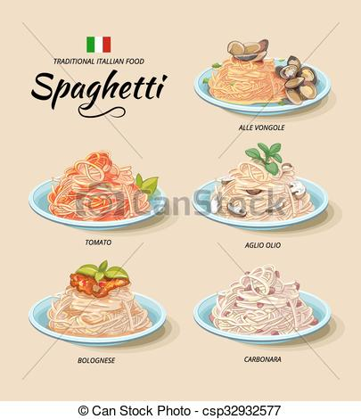 Vectors Illustration of Spaghetti or pasta dishes vector set in.
