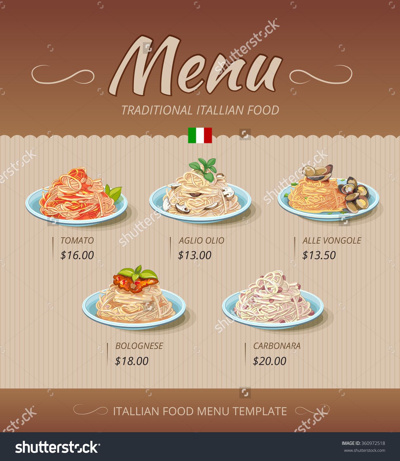 Pasta Restaurant Menu Italian Cook Tomato Stock Vector 360972518.