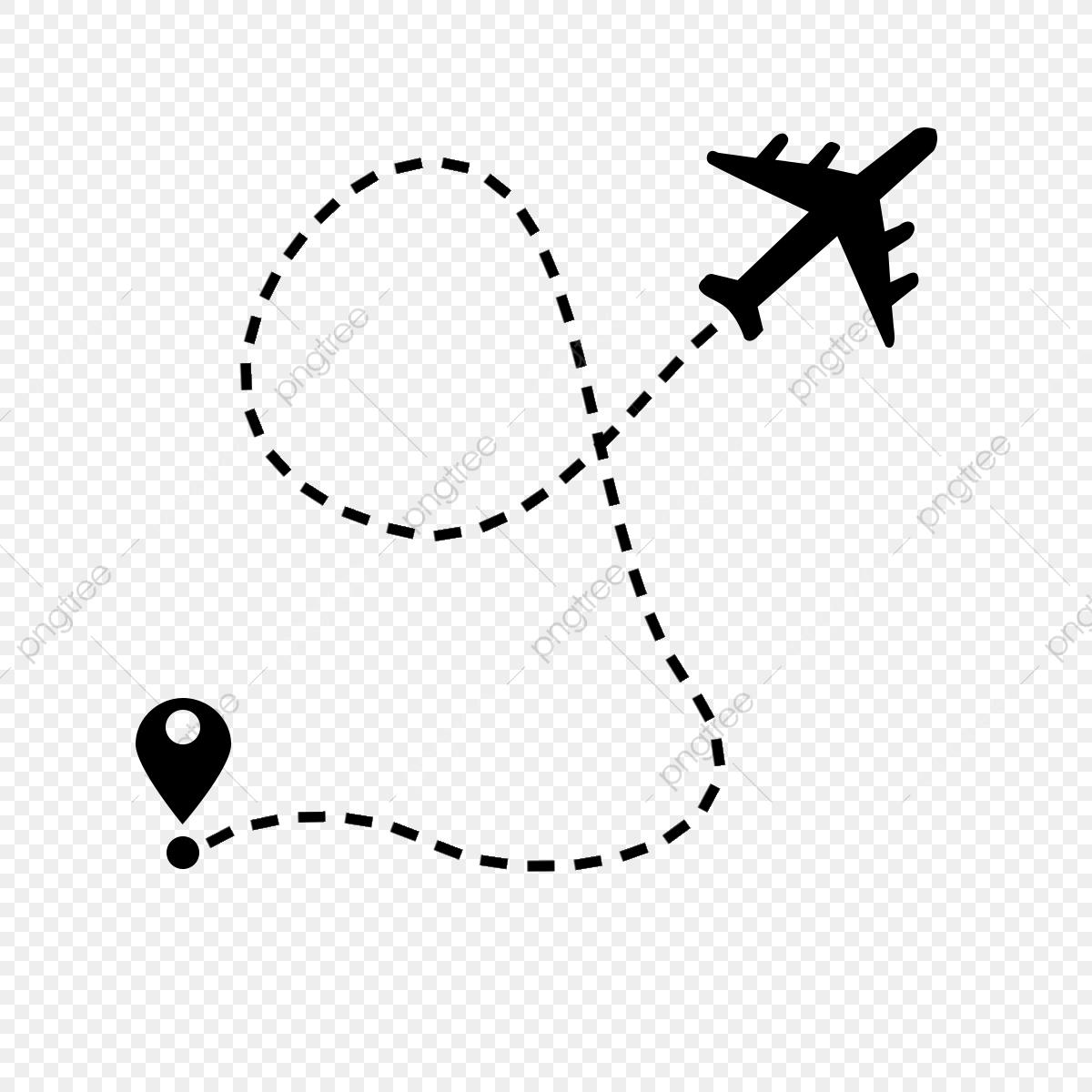 Rota De Voo De Avião Com Ponto De Partida E Traço De Linha De Traço.