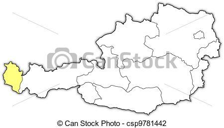 Vector Illustration of Map of Austria, Vorarlberg highlighted.