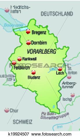 Clip Art of Map of vorarlberg k19924507.