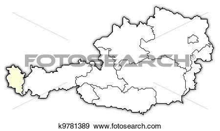 Stock Illustration of Map of Austria, Vorarlberg highlighted.