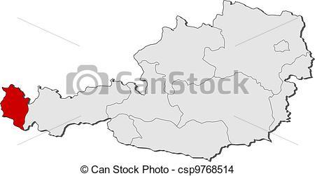 EPS Vector of Map of Austria, Vorarlberg highlighted.