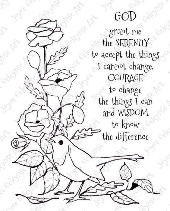 Digi Stamp Clip Art, Serenity Prayer, Bird, Flowers, You Color.