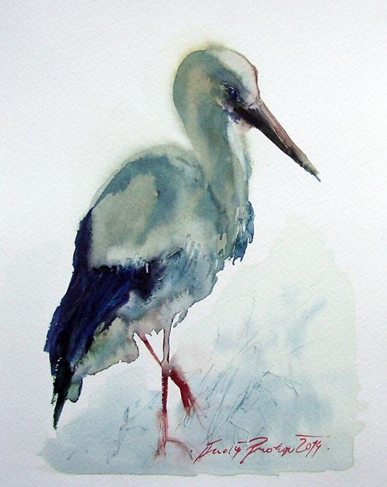 Čáp samotář,originální akvarel Osamocený čáp,menší akvarel.