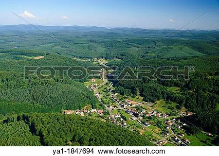 Stock Photo of Aerial view of Reyersviller village in valley.