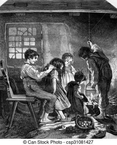 Clip Art of A household of orphans, souvenir des Vosges, vintage.
