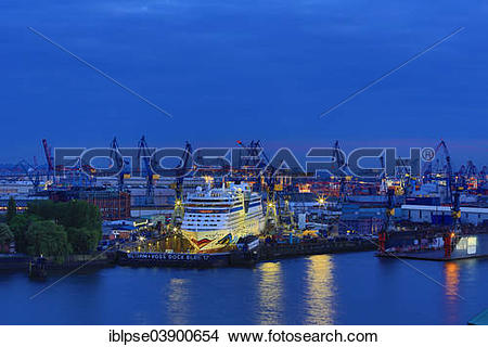 "Stock Photo of ""Elbe 17 dry dock of Blohm and Voss with cruise."