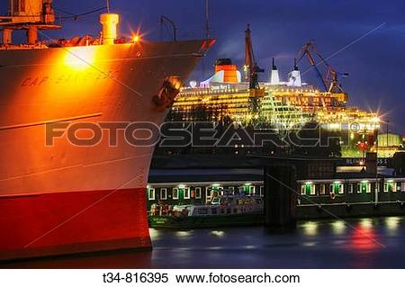 Stock Image of Queen Mary 2 in dock at Blohm & Voss in Hamburg.