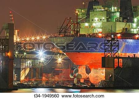 Stock Photography of Ship in Dry Dock at Blohm & Voss in Hamburg.