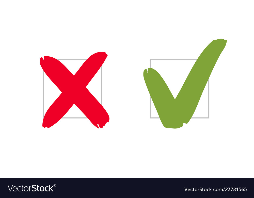 Do and dont pros and cons check marks sign vote.