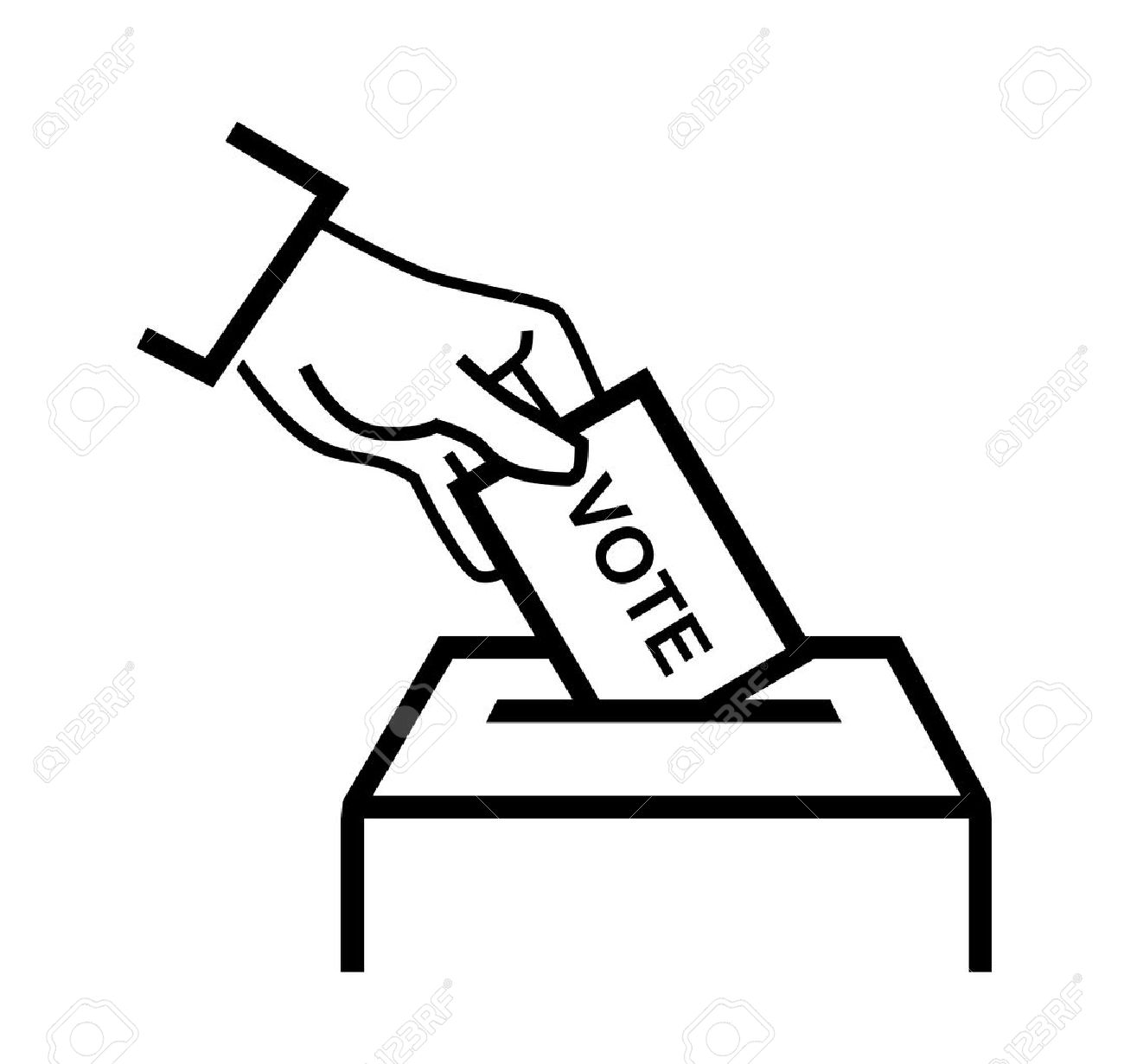 vector black hand putting a voting ballot on white.
