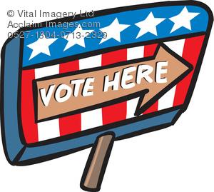 Clip Art Illustration of a Vote Here Sign.