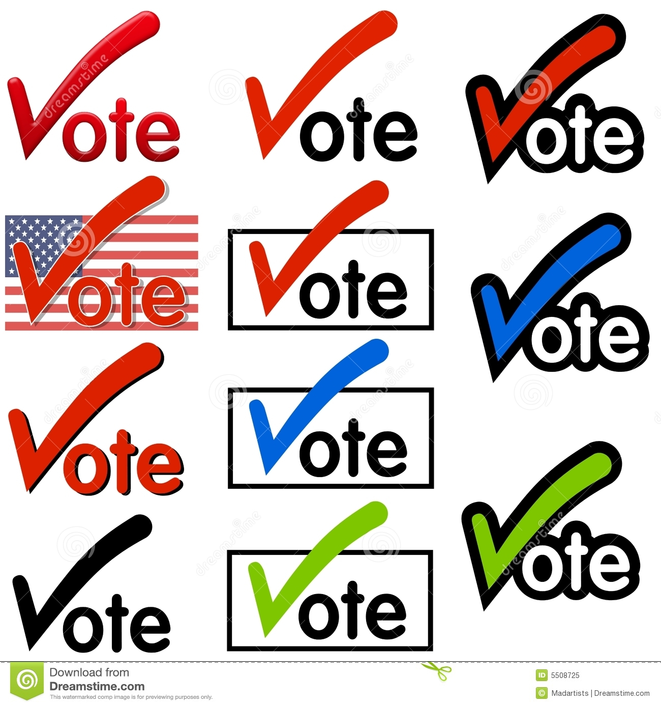 Vote Logos or Clip Art stock illustration. Illustration of images.
