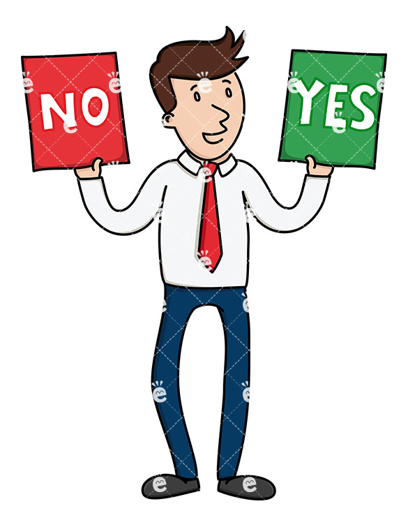 A Businessman Holding Up Yes And No Signs While Standing.