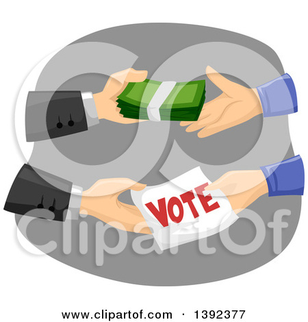 Clipart of a Politician Buying Votes.