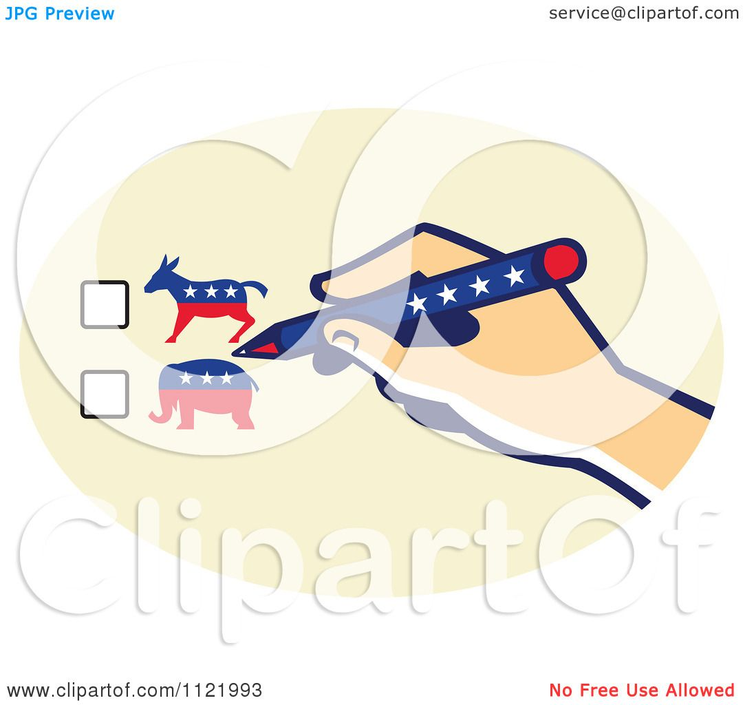 Clipart Of A Voters Hand Over Republican Or Democrat Ballot Check.