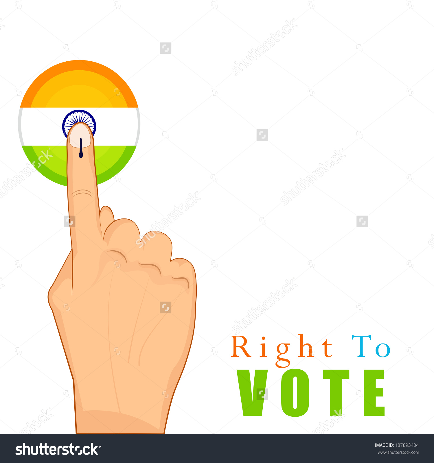 Hands Voting Sign India Tri Color Stock Vector 187893404.