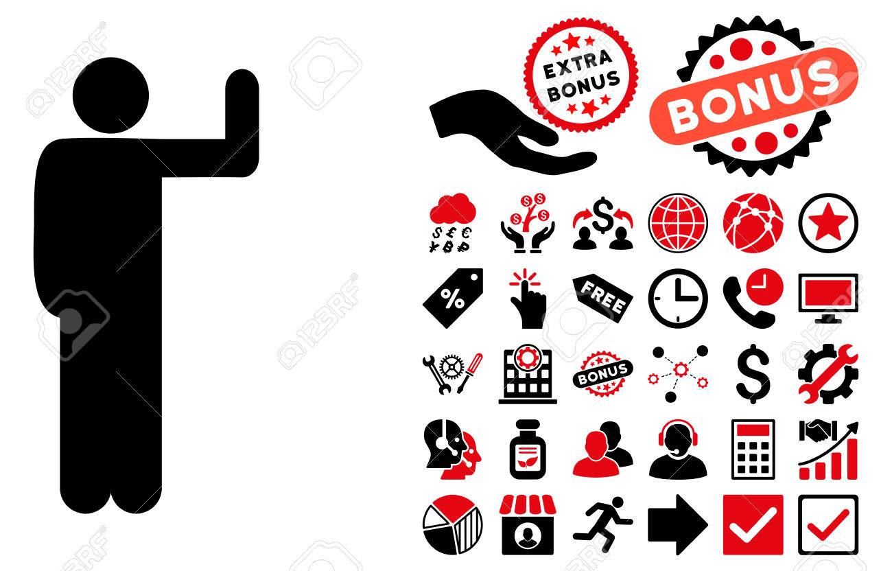 Vote Pose icon with bonus clip art. Vector illustration style...