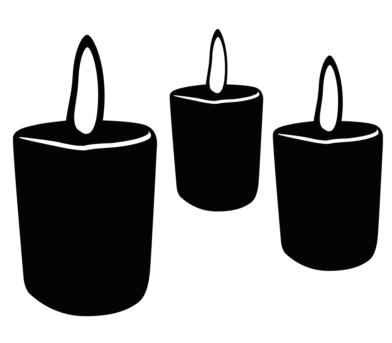 Votive candle clipart black and white.
