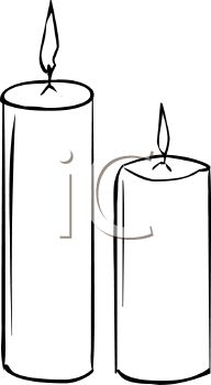 Picture of 2 Burning Votive Candles In Black and White In a Vector.