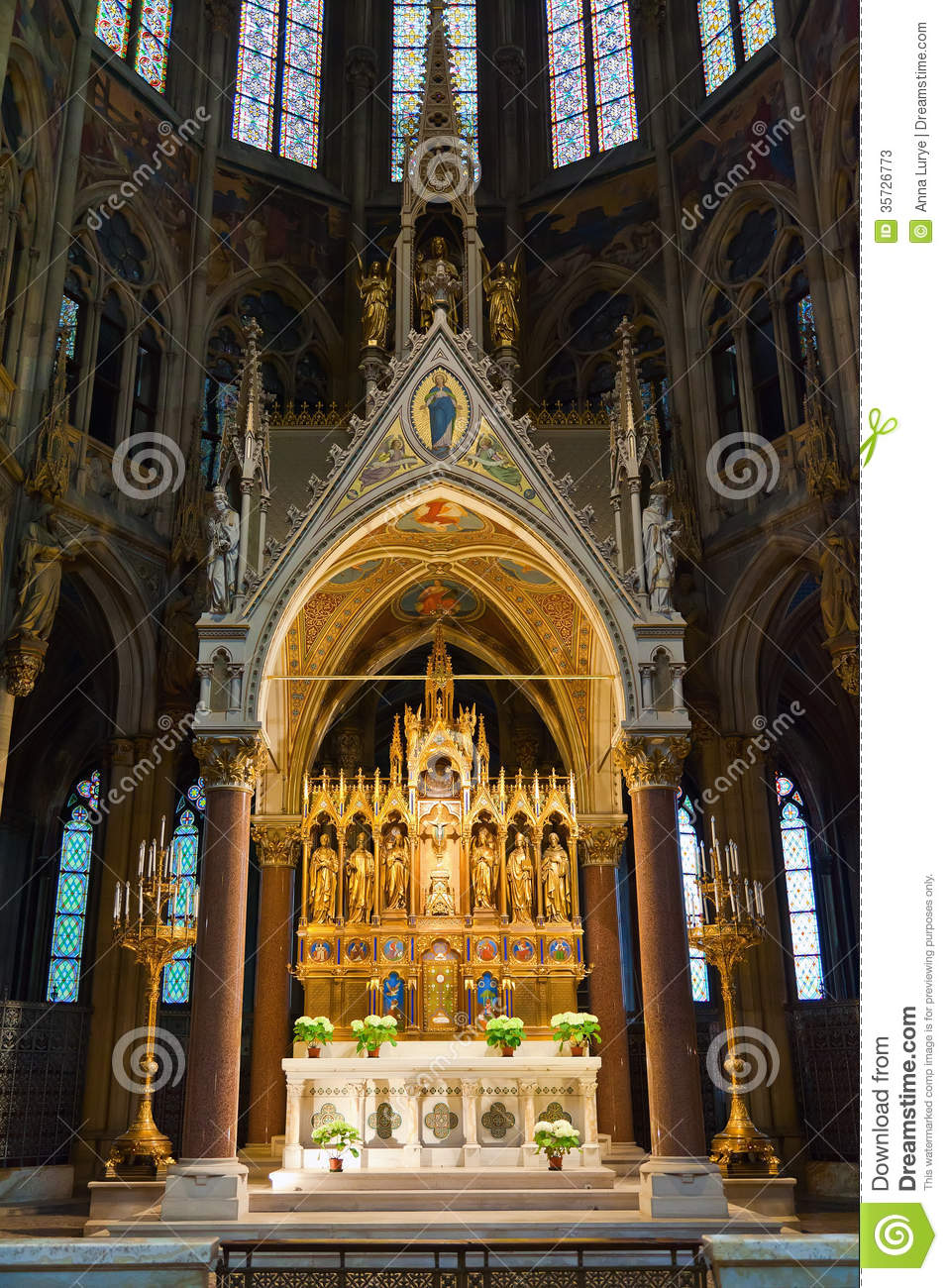Main Altar Of Votive Church Stock Photos.