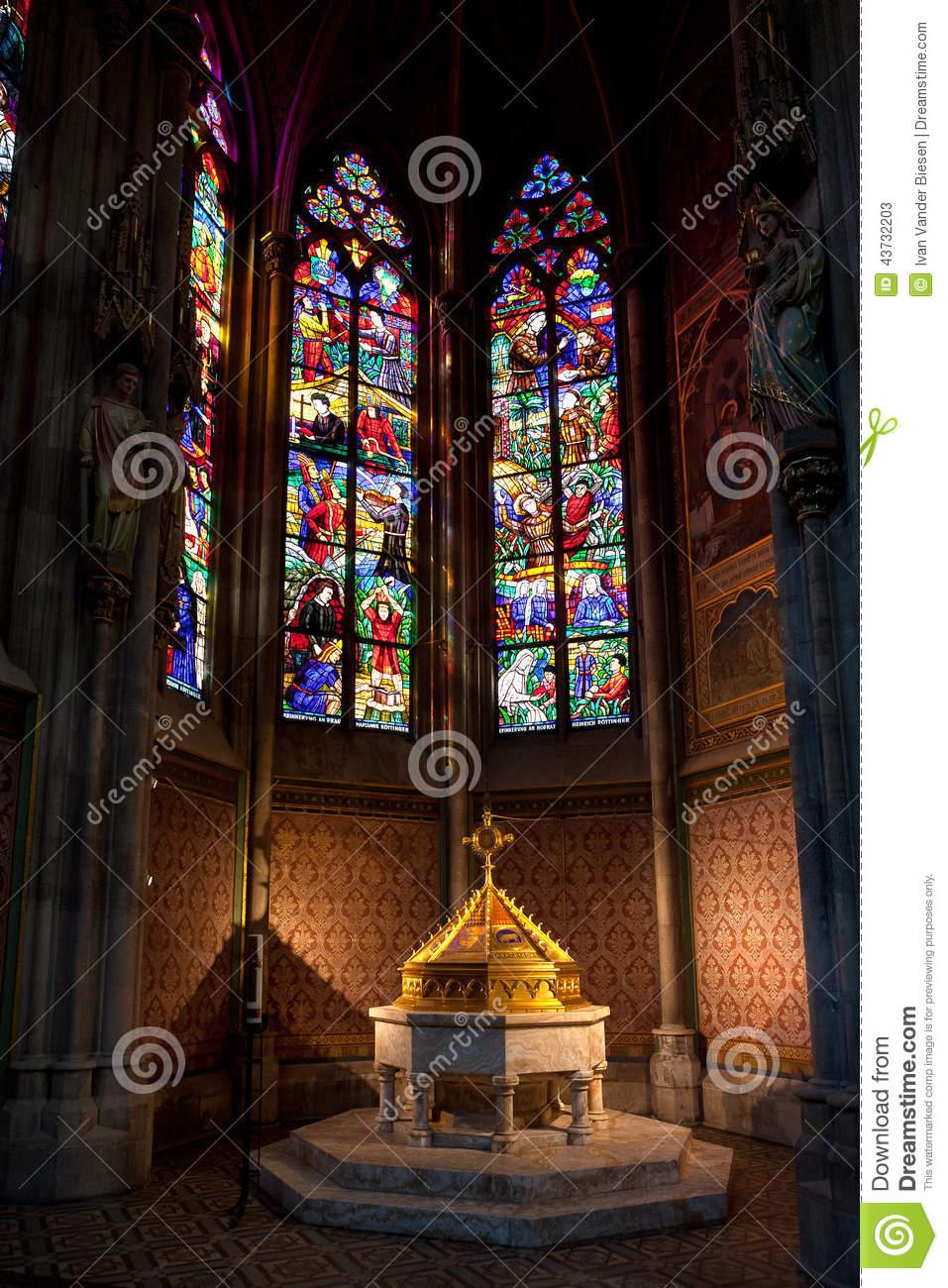 Font Baptistery , Votive Church, Vienna, Austria Stock Photo.