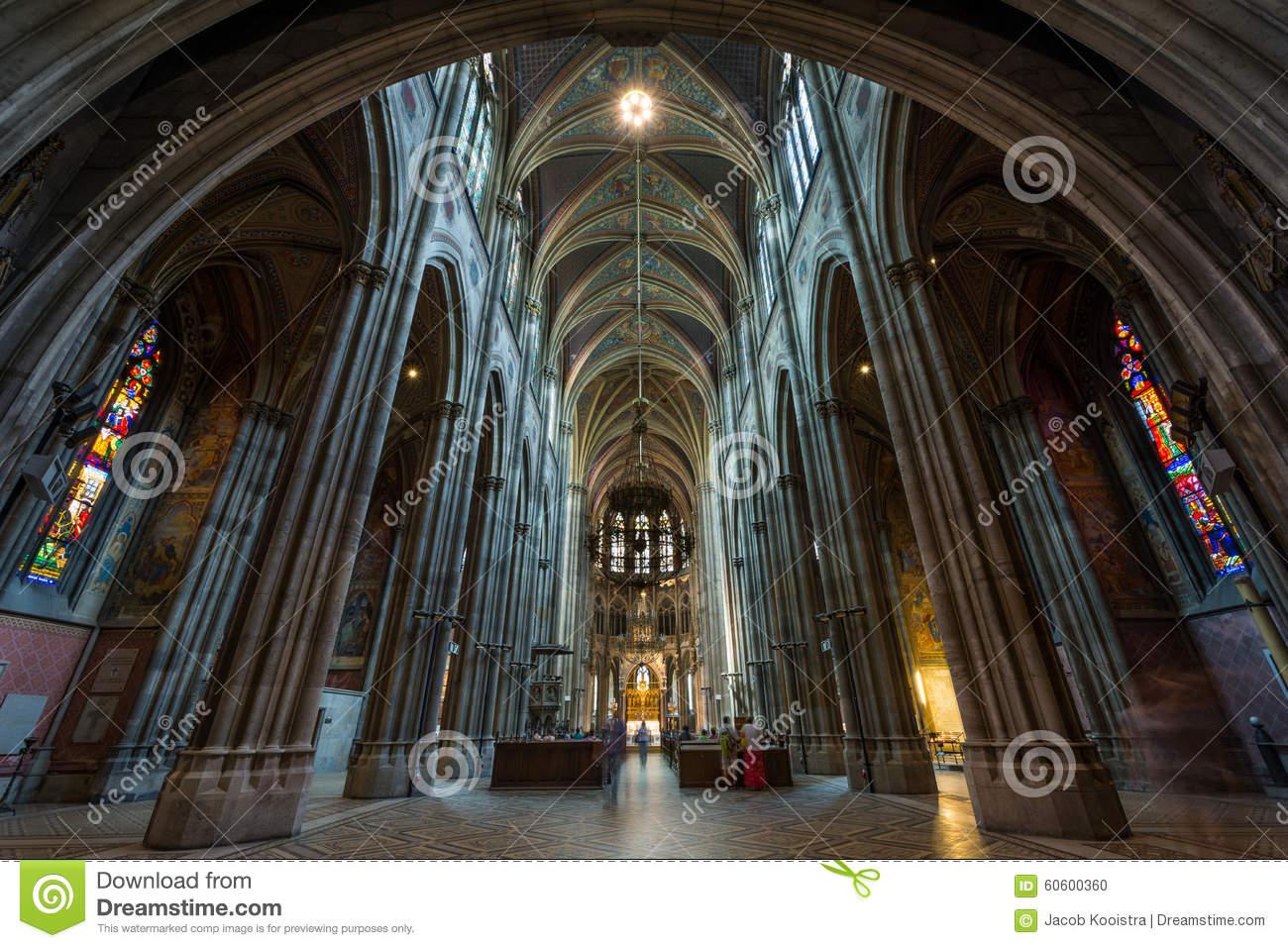 Interior Of Votive Church In Vienna Stock Photo.