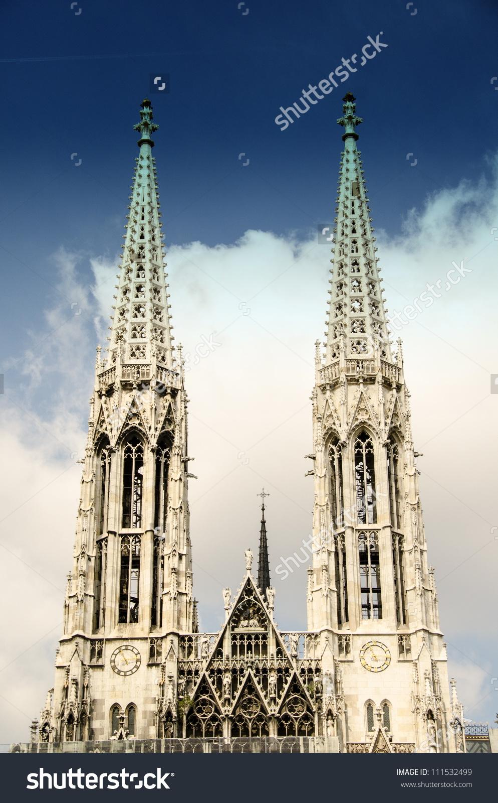 Votive Church Twin Towers In Vienna.