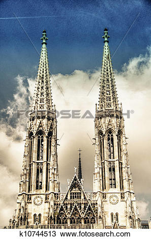 Stock Photo of Votive Church twin towers in Vienna k10744513.