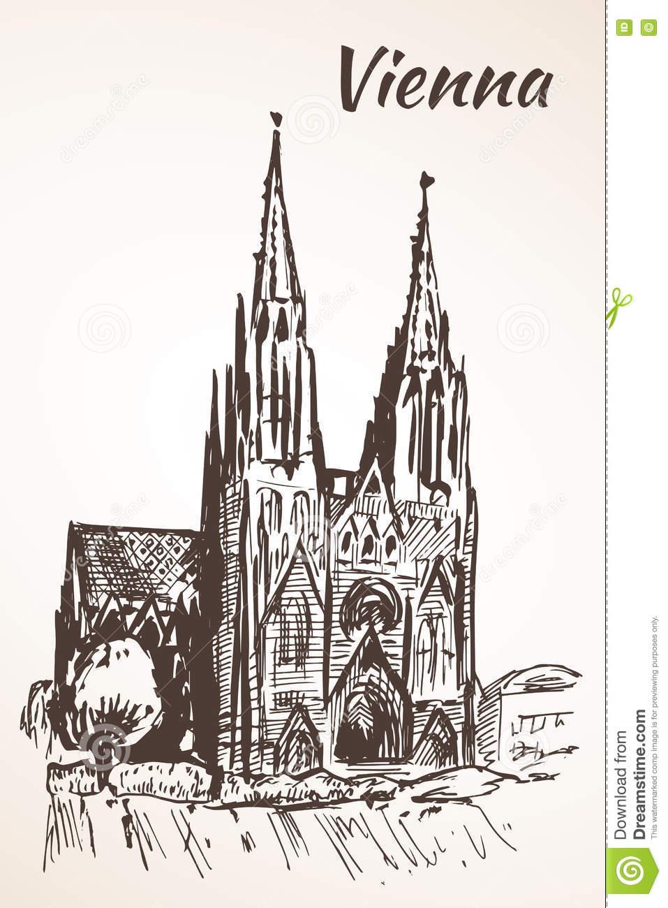 Votive Church, Vienna Stock Vector.