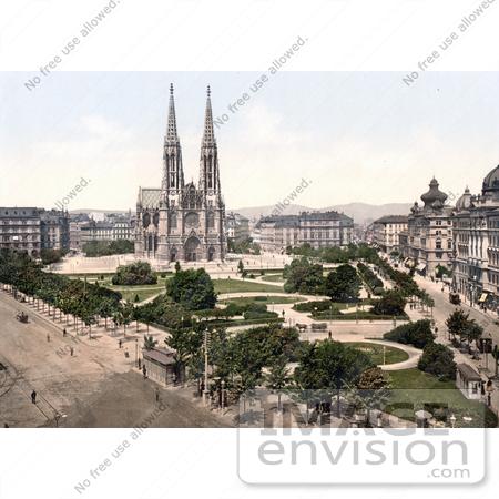 Stock Photo of the Votivkirche Votive Church and Public Parks on.