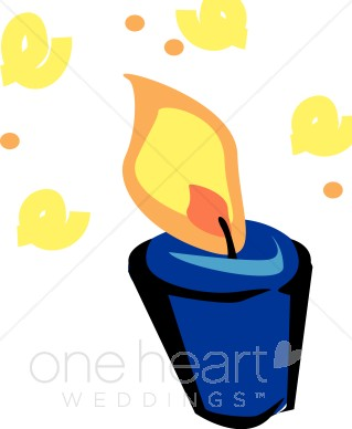 Blue and Yellow Votive Candle Clipart.