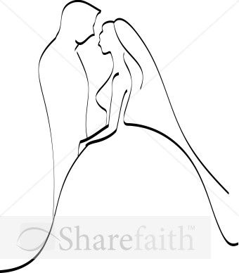 Romantic Bride and Groom Silhouette.