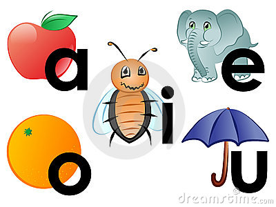 Animated vowels clipart.