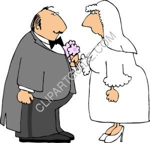 Bride and Groom Reciting Their Vows Clipart Picture.