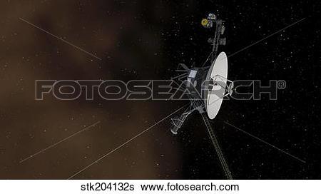 Stock Illustration of Voyager 1 spacecraft entering interstellar.