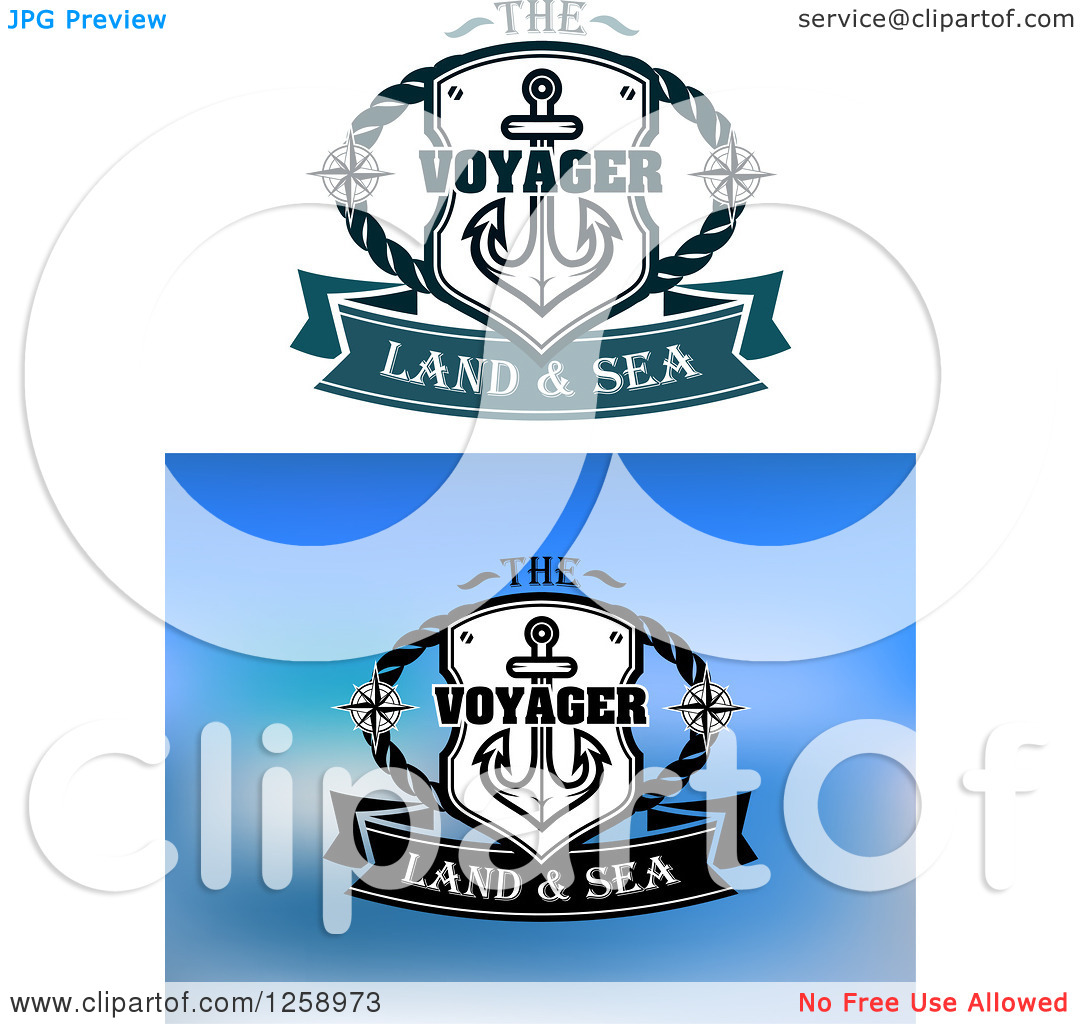 Clipart of Shield with an Anchor and the Voyager Land and Sea Text.