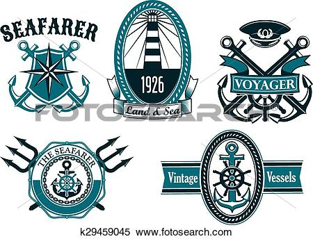 Clipart of Nautical seafarer, voyager and anchors symbols.