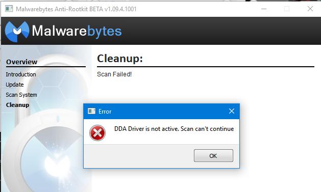Can't Open Malwarebytes.