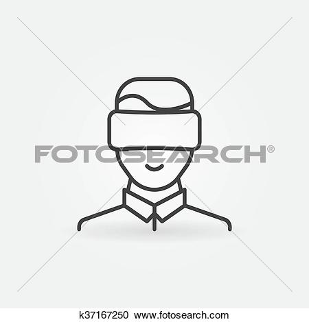 Clipart of Man wearing VR icon k37167250.
