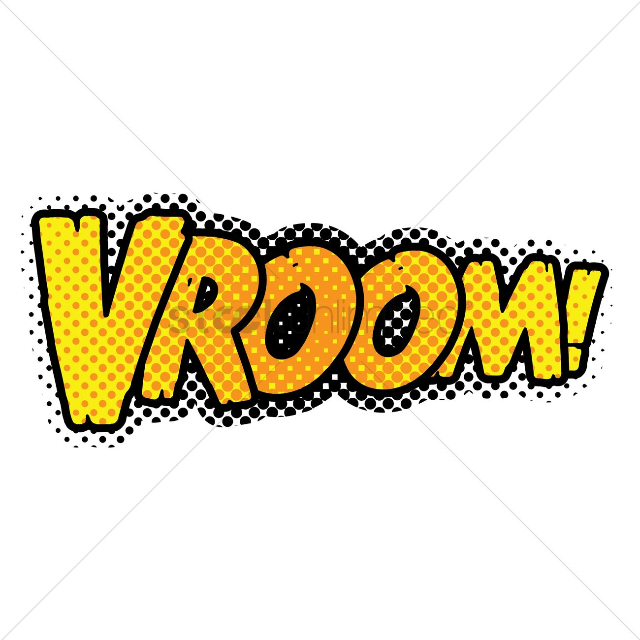 Vroom text with comic effect Vector Image.