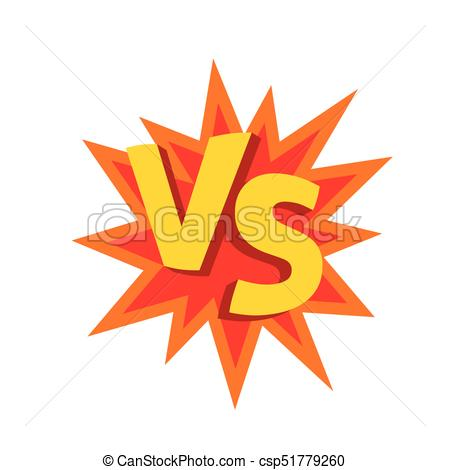 Versus letters or vs logo vector emblem on explosion shape.