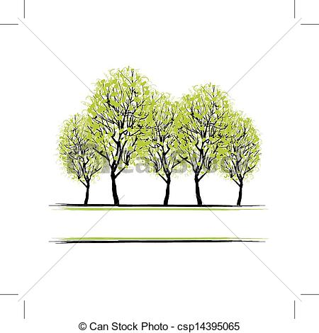 Clip Art Vector of Green grove with trees for your design.