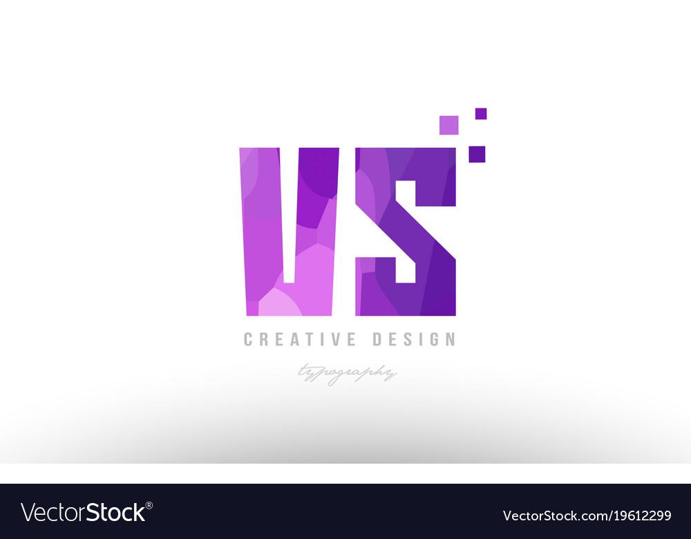 Vs v s pink alphabet letter logo combination with.