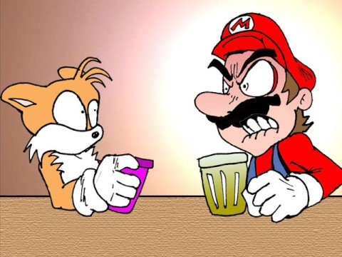 Mario and Tails having a nice conversation.