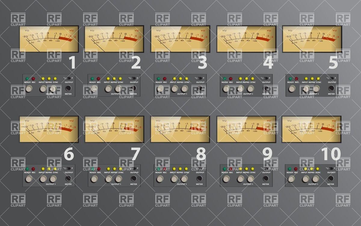 Multi display music control board, VU meter Vector Image #24726.