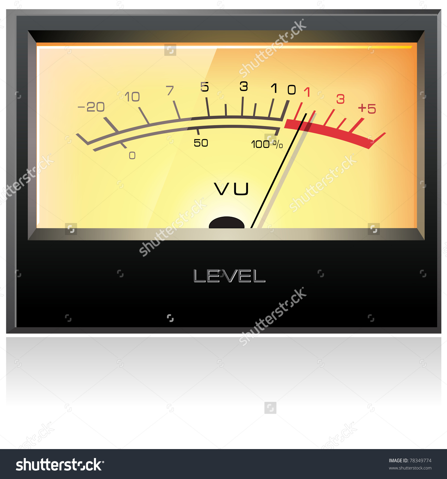 Analog Electronic Vu Meter, Detailed Vector.