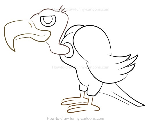 How to Draw A Cartoon Vulture.