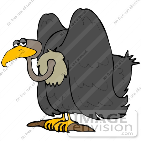 Clip Art Graphic of a Gloomy Perched Vulture.